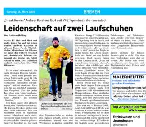 Artikel über den Läufer Andreas Karstens