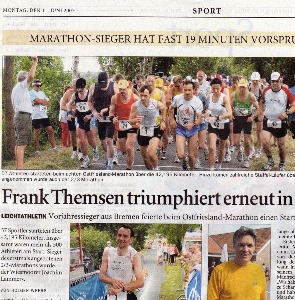Papa in der Ostfriesenzeitung - Hesel-Marathon 2007